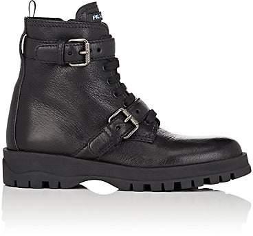 Prada Women's Double-Strap Leather Ankle Boots - Nero