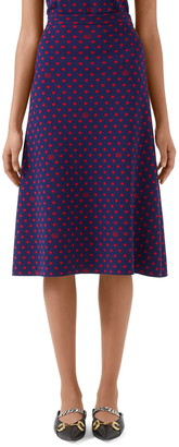 Gucci Polka Dot & Double G Logo Wool Blend Skirt