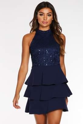 Quiz Navy Sequin Lace Tiered Hem Dress