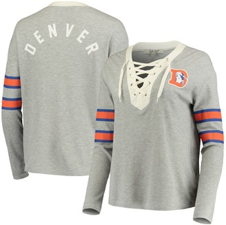 Junk Food Clothing Unbranded Women's Gray Denver Broncos Thermal Tri-Blend Lace-Up Long Sleeve T-Shirt