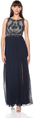 Adrianna Papell Women's Beaded Sleeveless Long Dress with Full Skirt