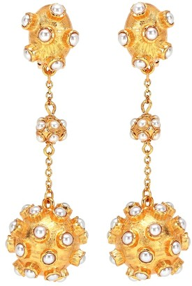 Oscar de la Renta Cabochon ball clip-on earrings
