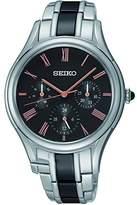Seiko SKY719P1 – Ladies Watch – Analogue Quartz – Black Dial – Steel Bracelet Grey