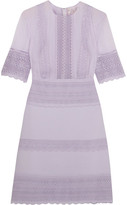 Giambattista Valli Guipure Lace-paneled Crepe And Chiffon Mini Dress - Lilac