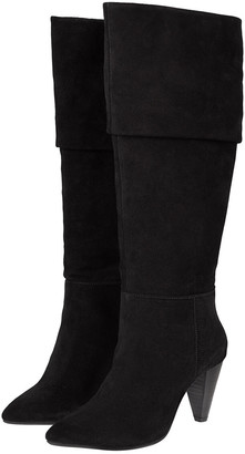 Monsoon Slouch Suede Thigh Boots Black