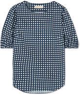 MICHAEL Michael Kors Checked Cotton-blend Poplin Top - Navy