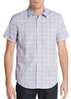 Calvin Klein Regular-Fit Faded Grid Cotton Sportshirt