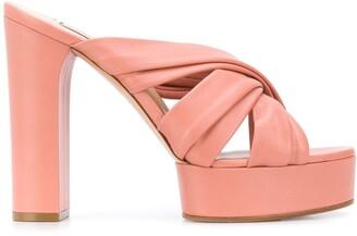 Casadei Crossover Strap Platform Sandals