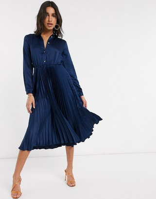 Closet London pleated midi shirt dress in navy