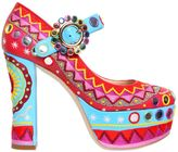 Moschino 120mm Embroidered Leather Pumps