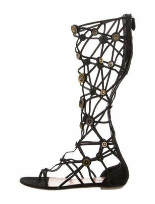 Alaia Suede Gladiator Sandals Black