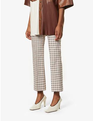 S Max Mara Soraga check-print straight-leg mid-rise cotton-blend trousers