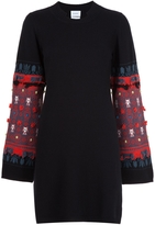 Barrie Embroidered Sleeve Knit Dress - Black and Red