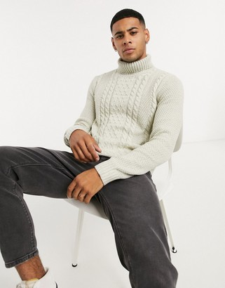 Jack and Jones cable knit sweater with roll in white
