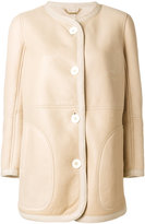 Chloé classic coat - women - Cotton/Leather - 36