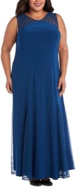 R & M Richards Plus Size Mesh-Inset Gown