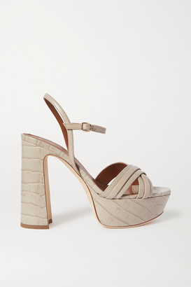 Malone Souliers Mila Croc-effect Leather Platform Sandals - Gray