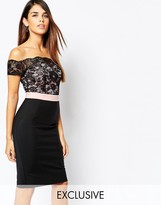 Paper Dolls Off Shoulder Lace Dress With Contrast Waistband
