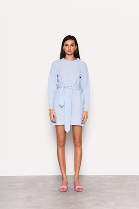 Glamorous Womens **Pale Blue Belted Pastel Dress By Pale Blue
