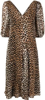 Ganni Leopard-Print Puff-Sleeve Dress