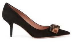 HUGO BOSS Heeled Pumps In Italian Suede With Calf Hair Bow - Black