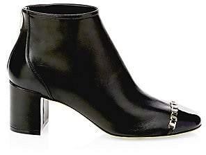 Salvatore Ferragamo Women's Atri Cap Toe Block Heel Booties
