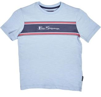 Ben Sherman Junior Boys Collar Print Polo Shirt in White