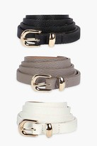 Thumbnail for your product : boohoo Skinny Belts 3 Pack