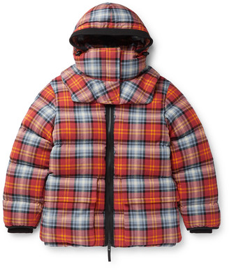 Burberry Quilted Checked Cotton-Twill Down Hooded Jacket