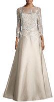 Rickie Freeman For Teri Jon 3/4-Sleeve Embellished Ball Gown, Champagne