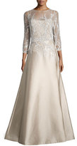 Rickie Freeman For Teri Jon 3/4-Sleeve Embellished Ball Gown