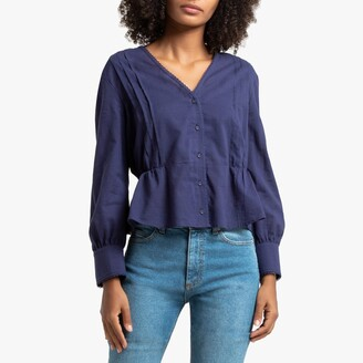 La Redoute Collections Cotton Pleated V-Neck Blouse with Long Sleeves