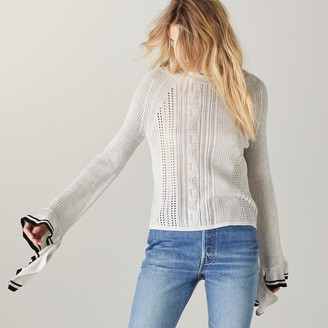 Naadam Palladia Open Stitch Cotton Long Sleeve with Ruffles Gray