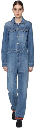 Kenzo Long Sleeve Cotton Denim Jumpsuit