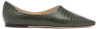 Jimmy Choo Joselyn Square-toe Crocodile-effect Leather Flats - Womens - Green
