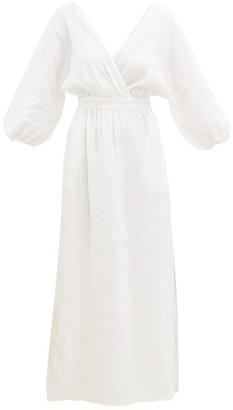 Mara Hoffman Nami Balloon-sleeve Linen Maxi Dress - Womens - White