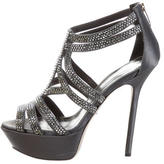Sergio Rossi Satin Jewel-Embellished Sandals
