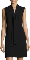 Neiman Marcus Sleeveless Crepe Tie-Neck Dress, Black