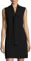 Neiman Marcus Sleeveless Crepe Tie-Neck Dress, Black