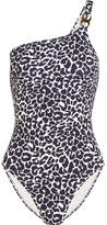 Tory Burch One-shoulder Leopard-print Swimsuit - Black