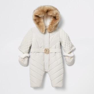 River Island Baby Cream padded snowsuit
