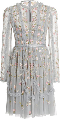 Needle & Thread Wallflower Embroidered Tulle Mini Dress