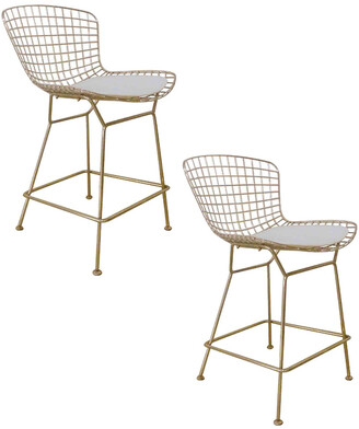 Pangea Set Of 2 Gold Shuttle Counter Stools