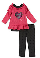 Nannette Baby Girls' Pink 2-pc. Hearts Tunic and Pants Set