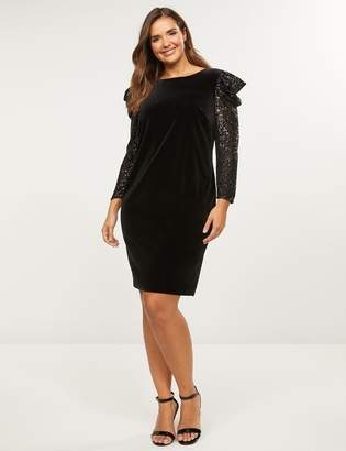 Lane Bryant Sequin-Sleeve Velvet Shift Dress