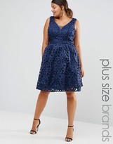 Chi Chi Plus Chi Chi London Plus Cutwork Lace Prom Dress With Cut Out Back