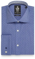 Jeff Banks Big And Tall Blue Striped Dobby Slim Fit Shirt