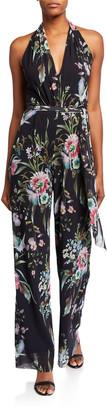 Fuzzi Bouquet Floral V-Neck Halter Jumpsuit