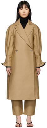 Edit Beige Pleat Back Trench Coat