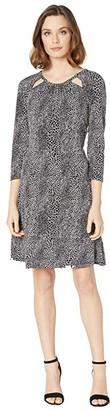 MICHAEL Michael Kors Snakestripe 3/4 Sleeve Dress (White) Women's Dress